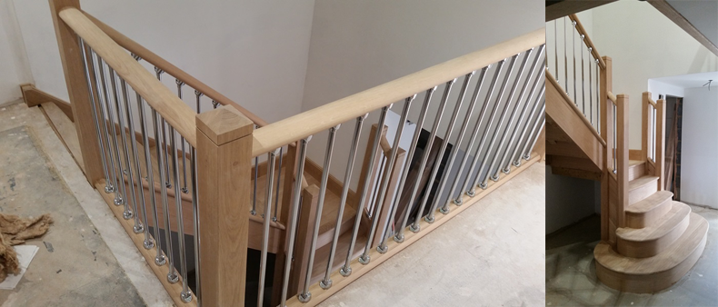 Bullnose Wooden Staircase fully installed in Colchester Essex