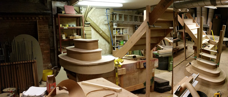 Bullnose Wooden Staircase in the Spittlywood Ltd Workshop