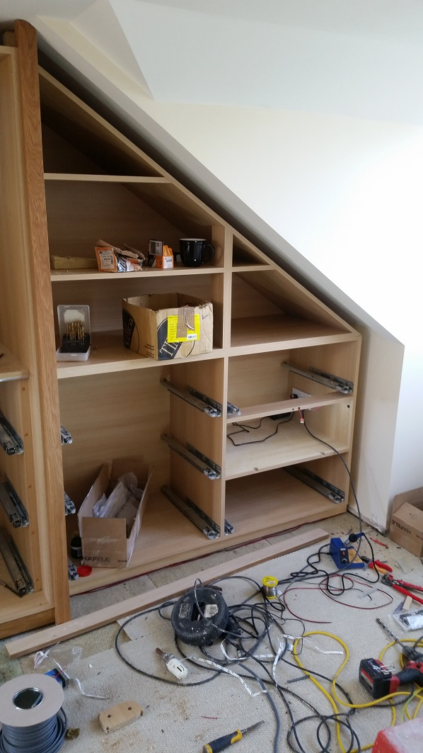 Fitted wardrobes mid installation